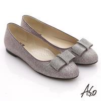 A.S.O 奢華美型 全真皮蝴蝶結金蔥平底鞋 紫銀