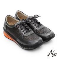A.S.O 活力微笑 牛皮雙層抗震綁帶奈米休閒鞋 深灰