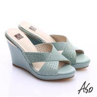 A.S.O 璀璨注目 牛皮交叉帶楔型涼拖鞋- 淺藍