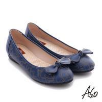 A.S.O 樂福氣墊鞋 全真皮蝴蝶結奈米氣墊鞋- 藍