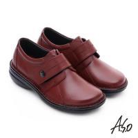 A.S.O 手縫氣墊-3E寬楦 魔鬼氈圓飾扣氣墊鞋- 紅