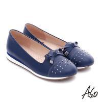 A.S.O 樂福氣墊 真皮鉚釘蝴蝶結奈米氣墊鞋- 藍