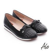 A.S.O 樂福氣墊 真皮鉚釘蝴蝶結奈米氣墊鞋- 黑