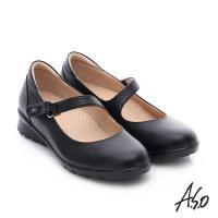A.S.O 挺麗氣墊鞋 全真皮魔鬼氈奈米休閒鞋- 黑