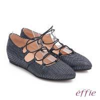 effie 都會舒適 絨面羊皮金箔內增高綁帶鞋- 藍