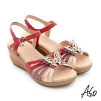 A.S.O 挺麗氣墊 真皮雙色蝴蝶環釦氣墊楔型涼拖鞋- 桃粉紅
