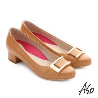 A.S.O 職場女力 真皮鏡面方形飾扣高跟鞋- 卡其