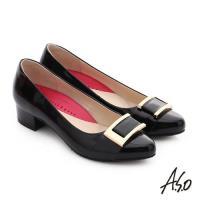 A.S.O 職場女力 真皮鏡面方形飾扣高跟鞋- 黑