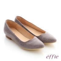 effie 舒適通勤 絨面真皮優雅尖頭平底鞋- 藕粉