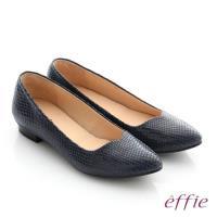 effie 舒適通勤 絨面真皮優雅尖頭平底鞋- 深藍