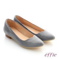 effie 舒適通勤 絨面真皮優雅尖頭平底鞋- 灰