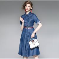 RN-girl-精品天絲牛仔條紋翻袖短袖洋裝