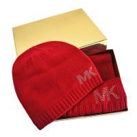 MICHAEL KORS 鉚釘LOGO圍巾/毛線帽禮盒組-紅色