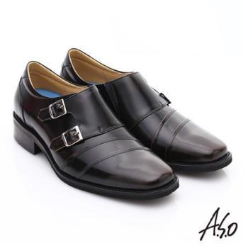 A.S.O 菁英通勤 雙飾扣鏡面牛皮奈米皮鞋- 茶