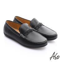 A.S.O 輕量抗震 真皮編織縫線奈米樂福鞋- 黑