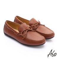 A.S.O 輕量抗震 真皮結飾縫線奈米樂福鞋- 茶