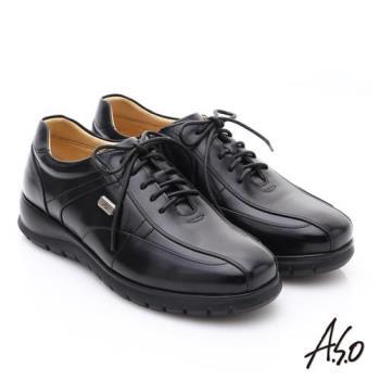 A.S.O 挺力氣墊 油感牛皮綁帶側拉鍊奈米氣墊皮鞋- 黑