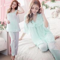 lingling日系 冰絲平口睡衣+蕾絲繡花罩衫+長褲 三件式睡衣組(全尺碼)