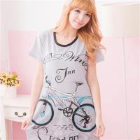 lingling日系 腳踏車圖案T恤連身睡衣(俏麗黑,全尺碼)