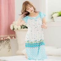 lingling日系 印花牛奶絲短袖連身裙睡衣(全尺碼)