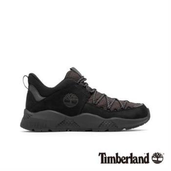 Timberland男款黑色全粒面革網格拼接休閒鞋(A1UZ8015)