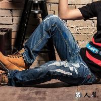 男人幫-K0392*韓國同步流行刷破款窄版布標破壞中直筒小直筒牛仔褲潮流