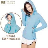 【HOII后益】全功能拉鍊連帽T恤★藍光(UPF50+抗UV防曬涼感先進光學機能布)