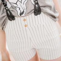 全尺碼-英倫飾釦紋格皮革吊帶短褲(簡約白條)lingling