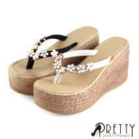 Pretty 花朵釦飾仿編織紋夾腳楔型厚底拖鞋BA-20197