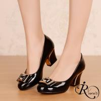 【iRurus 路絲時尚】歐美個性金屬裝飾漆皮高跟包鞋/1色/35-40碼 (RX0502-136-1A)現+預