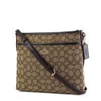 COACH 緹花LOGO織布前置物袋斜背包-小/棕色