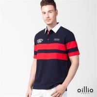 oillio歐洲貴族 短袖襯衫領POLO衫 舒適透氣棉質衣料 丈青色