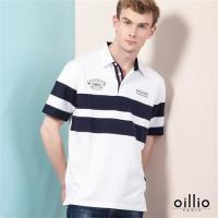 oillio歐洲貴族 男裝 短袖襯衫領POLO衫 舒適透氣棉質衣料 白色-透氣 乾爽 吸濕 排汗 彈性佳 萊卡纖維 彈力好 T-shirt