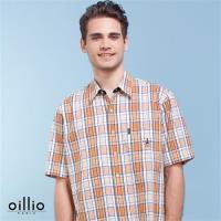 oillio歐洲貴族 男裝 短袖泡泡棉格紋襯衫 100%純棉款式 橘色-男款 透氣 乾爽 吸濕 排汗 舒適全棉 不悶熱 上衣 精品服裝