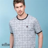 oillio歐洲貴族 短袖涼感圓領T恤 滿版圖樣 超柔不易皺布料 灰色