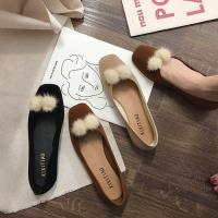 Alice (預購) 韓時尚典雅拼接毛球平底鞋