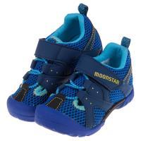 《布布童鞋》Moonstar日本藍色網布透氣兒童機能運動鞋(15~19公分) [ I9G805B ]