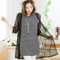 大尺碼-條紋長背心+網紗罩衫兩件式上衣(休閒黑)lingling