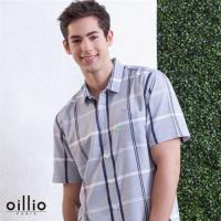oillio歐洲貴族 男裝 條紋短袖 修身款襯衫 天然純棉衣料 灰色-男款 抑菌 除臭 絲滑 手感細膩 輕柔 舒適 高極面料 針織衫 紳士精品 送禮