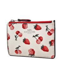COACH 水果圖案防刮皮革證件鑰匙零錢包-草莓/櫻桃