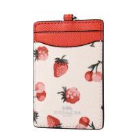 COACH 水果圖案防刮皮革識別證掛帶票卡夾-草莓/櫻桃