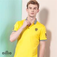 oillio歐洲貴族 男裝 短袖柔軟布料 POLO衫 舒適透氣棉衣料 黃色-男款 吸濕 排汗 透氣 不悶熱 夏日最佳 短袖上衣 高級服飾 休閒男士