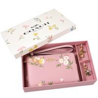COACH 限定款 康乃馨防刮皮革手拿包禮盒-粉色