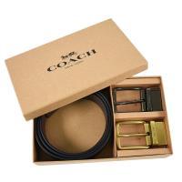 COACH 男款 荔枝紋皮革雙扣頭雙面用寬版皮帶禮盒組-黑/咖啡色