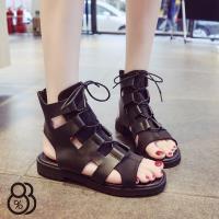 【88%】涼拖鞋-皮質面料中性簡約 率性羅馬綁帶涼鞋 涼拖鞋