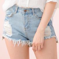 全尺碼-牛仔刷破後口袋造型不修邊短褲(牛仔淺藍)lingling