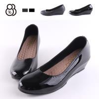 【88%】包鞋-MIT台灣製 亮面/霧面 皮質 OL通勤鞋 舒適乳膠鞋墊 3.5cm楔型包鞋
