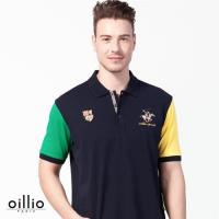 oillio歐洲貴族 舒適乾爽透氣POLO衫 吸濕排汗網眼 丈青色