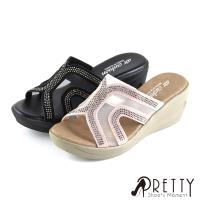 Pretty 鏤空透膚精緻水鑽楔型拖鞋B-2X658