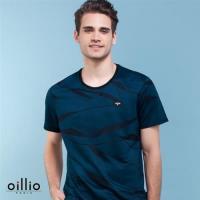 oillio歐洲貴族 超柔質感天絲棉圓領T恤 特色創意圖紋 藍色